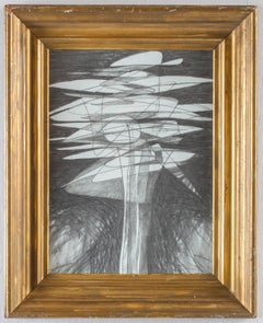 Solar Flower (Modern, Cubist Style Graphite Drawing in Vintage Frame)