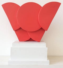 Mariette (Abstract Minimalist Mid Century Modern Sculpture in Bright Red)