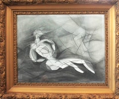 Olympia VIII (Abstract Cubist Style, Modern Graphite Drawing with Vintage Frame)