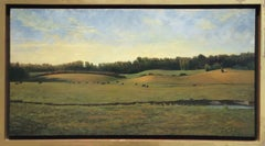 Landscape with Cows (Realistic Panoramic Oil Landscape Painting on Canvas)