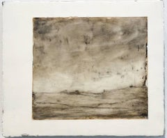 Opening Farm (Encaustic Monochromatic Pastoral Landscape in Earth Tones & White)