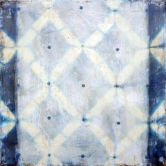 The Space Between (Square Abstract Indigo Silk & Encaustic Work on Panel)