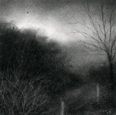 Edgeland VII (Small Charcoal Landscape Drawing of Country Field & Sky)