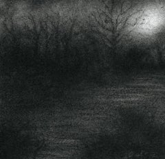 Nocturne VI (Modern Realistic Charcoal Drawing of Moonlit Forest Landscape)