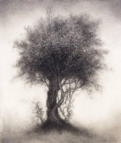 Rare Bird (Contemporary Vertical Black Charcoal Drawing of a Single Tree)