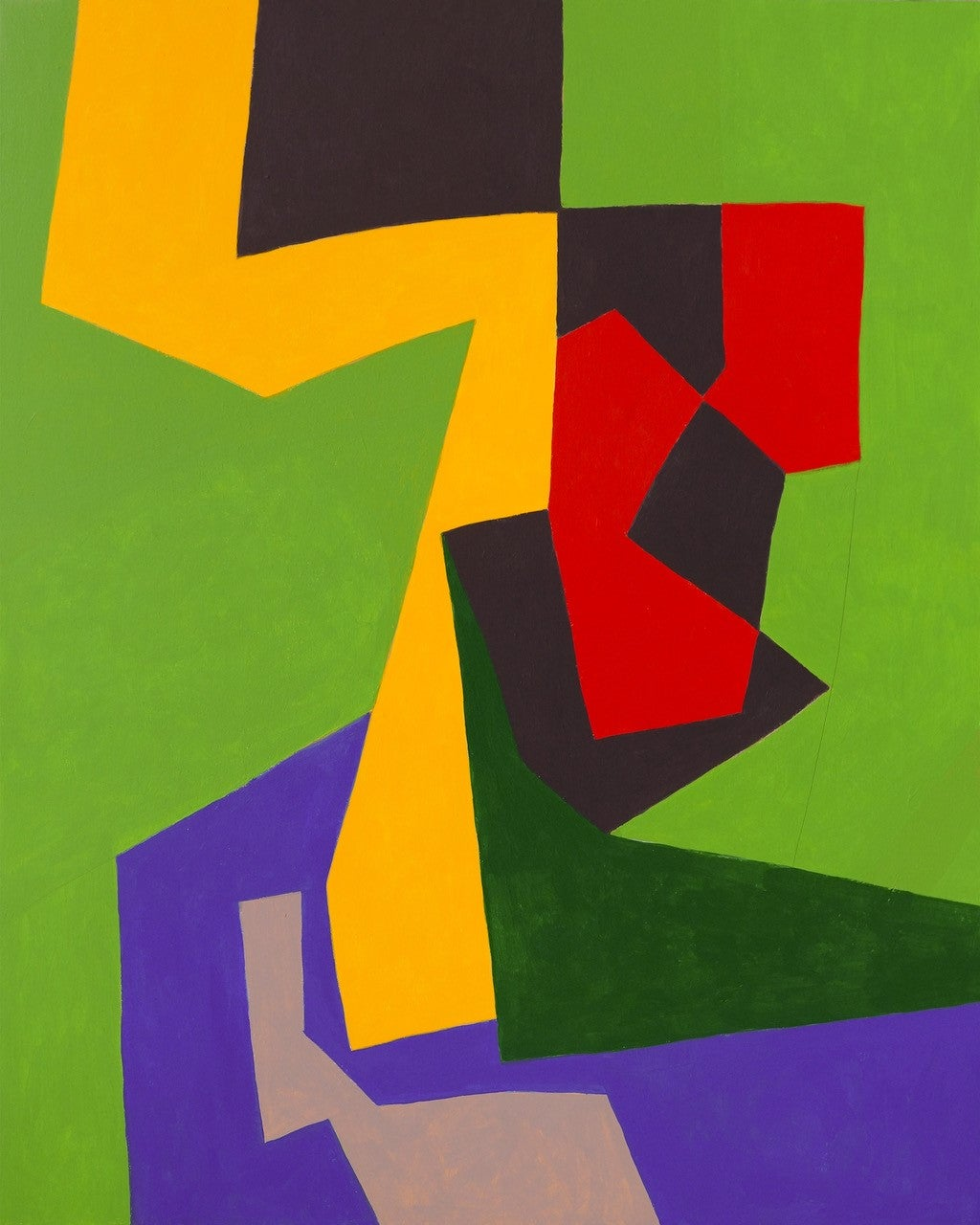 Dactyl (Contemporary Abstract Painting in Yellow, Green, Red, Purple & Black)