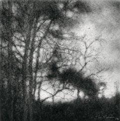 Edgeland XXXII (Black & White Realistic Landscape Drawing in Black Charcoal)