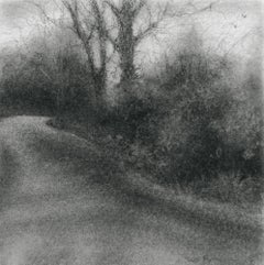 Edgeland XLVII (Modern, Square Charcoal Landscape Drawing of Country Road)