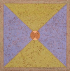 Insight 1 (Tempera & Plaster Olive / Lavender Geometric Abstraction on Board)