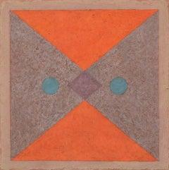 Insight 6 (Tempera & Plaster Orange / Plum / Teal Abstraction on Board)
