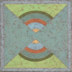 Insight 7 (Tempera & Plaster Chartreuse / Teal\ Geometric Abstraction on Board)