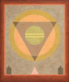 Insight 9 (Tempera & Plaster Ochre / Taupe Geometric Abstraction on Board)