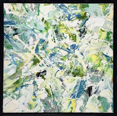 Adam Cohen - Early July (Contemporary Abstract Expressionist Painting in White, Green & Blue)