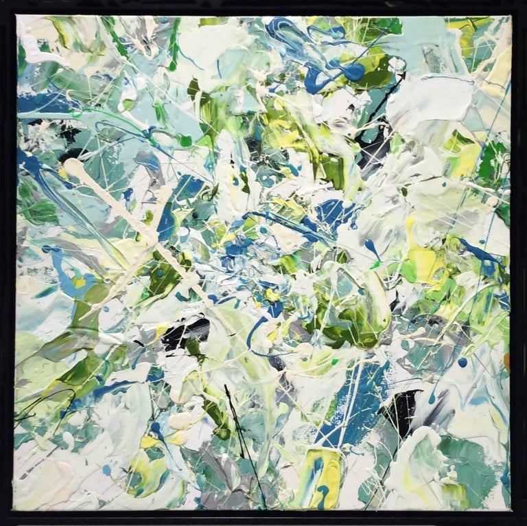 Adam Cohen Abstract Painting - Early July (Contemporary Abstract Expressionist Painting in White, Green & Blue)