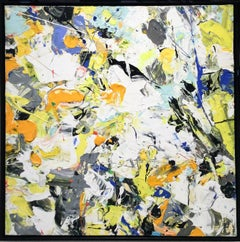 Gentle Morning: Abstract Expressionist Painting on Canvas in Yellow, White, Blue