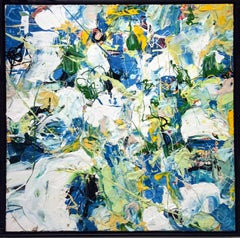 Migration: Modern Abstract Expressionist Painting in Blue, Green, White & Yellow