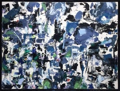 Air Bluing with Afternoon (Large Abstract Expressionist Painting in Blue)