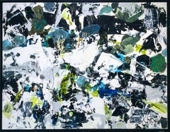 Orchestra (Large Abstract Expressionist Painting in Blue, Black, White & Green)
