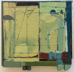 Brigadier (Square Abstract Encaustic Painting on Wood Panel in Green & Blue)