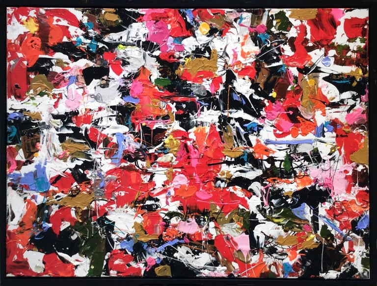 Proposal: Modern Abstract Expressionist Painting in Red, Pink, Periwinkle, Black