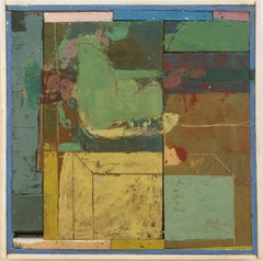 Backyard Pool (Square Abstract Encaustic Painting on Wood Panel in Earth Tones)