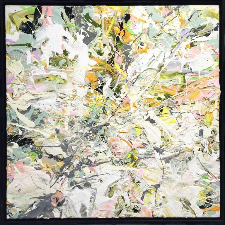White Linen Garden Party: Abstract Expressionist Oil Painting on Canvas, framed