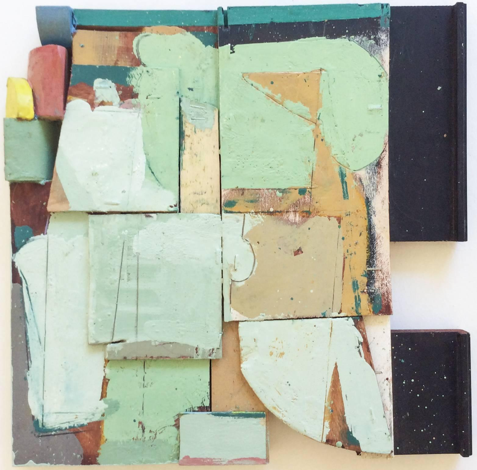 Lightening (Square Abstract Encaustic & Enamel Painting on Wood in Mint Green)