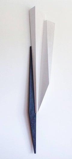 Slender Male Dancer (Modern Abstract Minimalist White & Black Wall Sculpture)