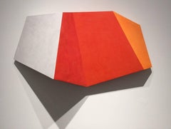 Solitary Man's Sunset (Abstract Minimalist Wall Sculpture in Bright Red-Orange)
