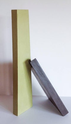 Just Lean on Me (Contemporary Minimalist Standing Sculpture in Green & Black)