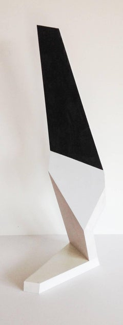 Kneeling Figure (Modern Abstract Minimalist Standing Sculpture in White & Black)