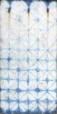 Chance Fades (Modern Abstract Blue Indigo & Encaustic Vertical Work on Panel)