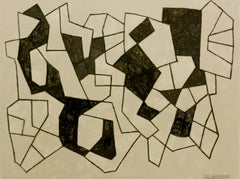 Black and White Abstract Graphite Drawing, Untitled 21