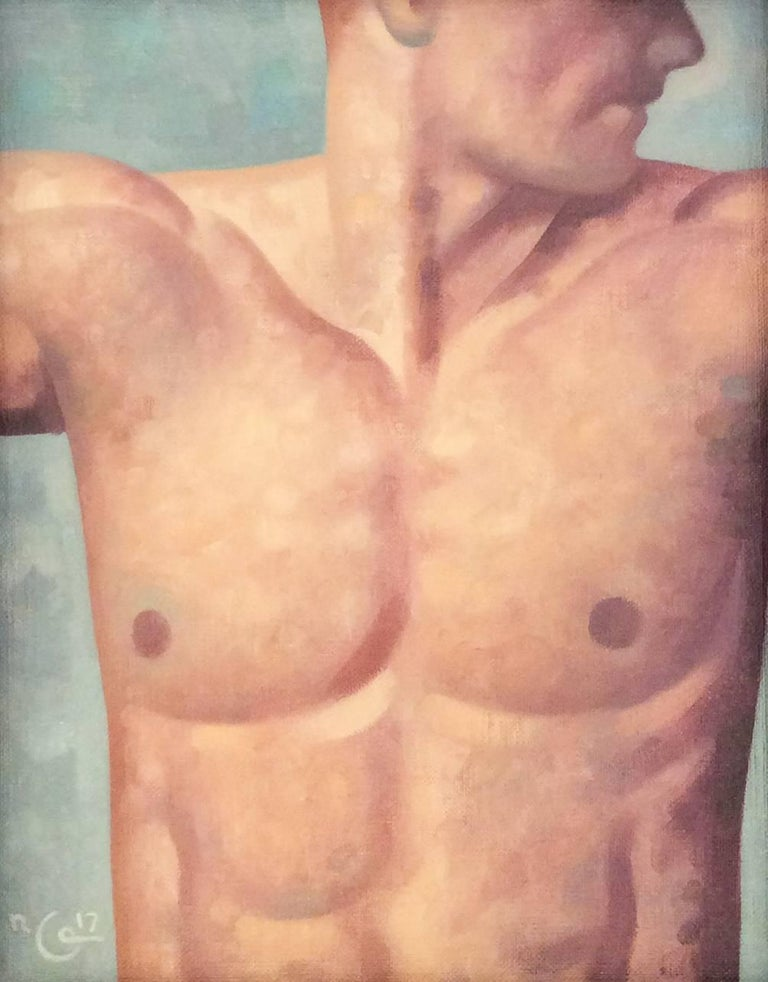Anatomy Study 32 (Modern Figurative Painting, Chest of Male Nude in Black Frame)