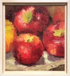 Apples (Small Square Fruit Still Life Oil Painting of Red Apples in Wood Frame)
