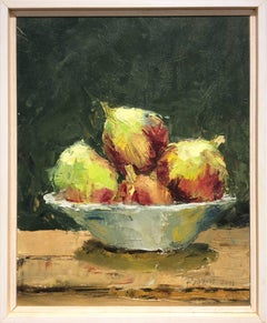 Bowl of Figs (Small Fruit Still Life Painting of Red & Green Figs in Wood Frame)
