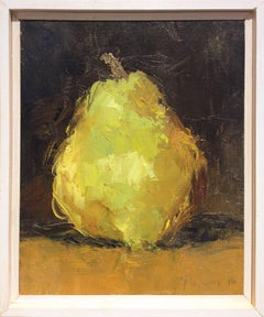 Pear (Modern Impressionistic Fruit Still Life Painting of Light Green Pear)