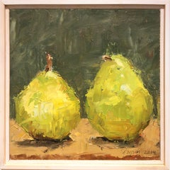 Pears I (Modern Impressionist Fruit Still Life Painting of Two Green Pears)