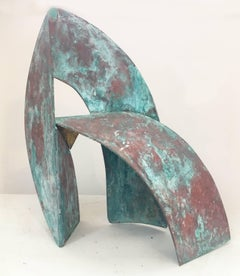 Atlantis II (Abstract Mid Century Modern Sculpture in Teal Patinated Brass)