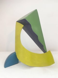 Calypso (Colorful Abstract Mid Century Modern Sculpture in Yellow, Blue & Green)