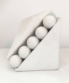 Sequestered (Small White Abstract Mid Century Modern Wood & Copper Sculpture)