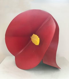 Georgia (Small, Abstract Mid Century Modern Metal Sculpture of Red Flower)