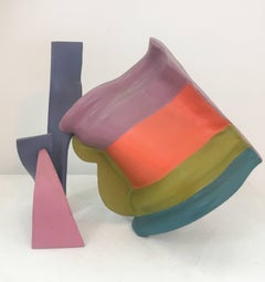 Reveille (Small Colorful Abstract Mid Century Modern Steel Sculpture)