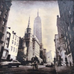 Bike with Empire, NY (Framed and Matted Photograph of Empire State Building)