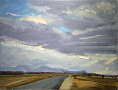 Wire Road (Hudson Valley Landscape Painting of Country Road, Mountains & Sky)