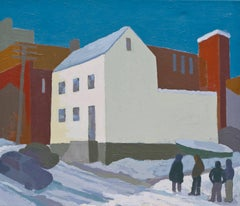 Livingston Avenue, Albany (0660): Acrylic Cityscape on Canvas in Wood Frame