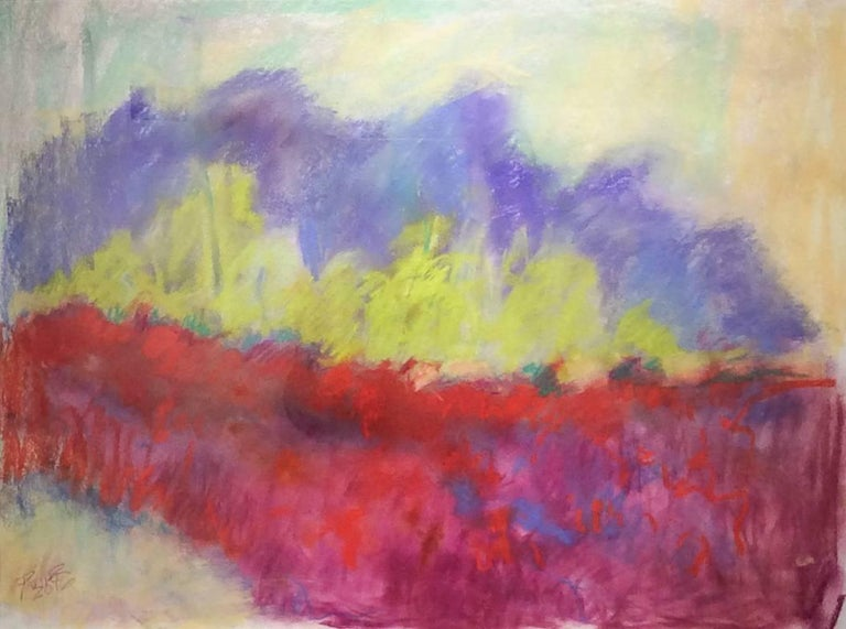 Nancy Rutter Abstract Drawing - Red Clover Field (Ethereal Abstracted Landscape Pastel on Paper)