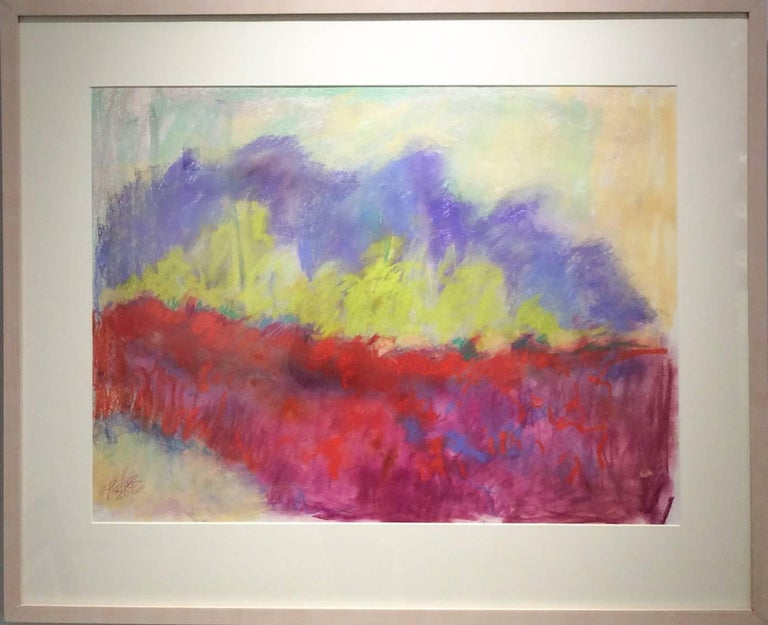 Red Clover Field (Ethereal Abstracted Landscape Pastel on Paper) - Art by Nancy Rutter