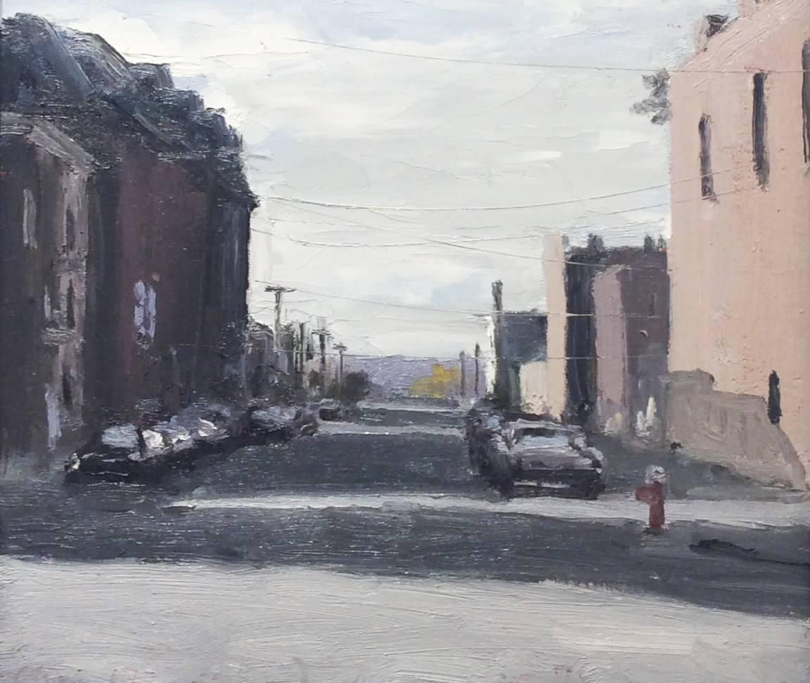 4th & Jefferson (En Plein Air Cityscape Painting of Upstate New York, Framed)