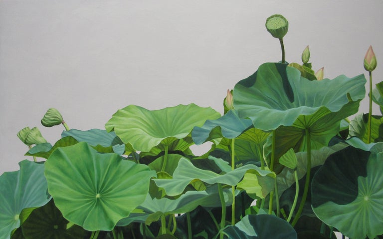 Lotus No. 1 (Contemporary Hard Edge Realist Still Life painting of Lotus Leaves)